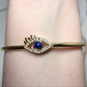 C. Wonder Evil Eye Rhinestone Gold Bangle Bracelet